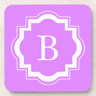 CHIC COSTER SET_PRETTY LILAC WITH WHITE MONOGRAM DRINK COASTER