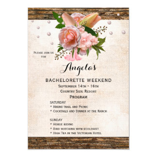 Chic Country Bachelorette Weekend Program Invite