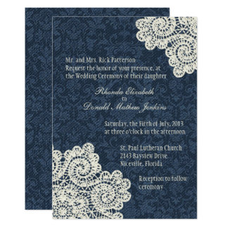 Chic Country Denim Damask & Ivory Lace Wedding 3 Invitation