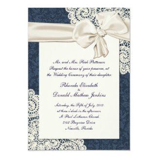 Chic Country Denim Damask & Ivory Lace Wedding Personalized Invitations