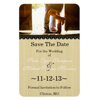 Chic Country Lace Photo Save The Date Magnet