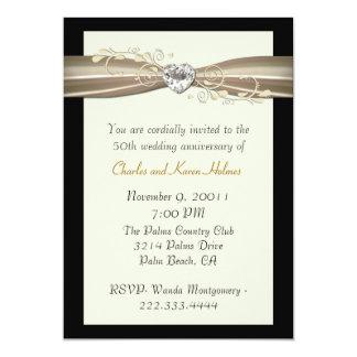 """Chic Cream and Black Anniversary Invitation 5"""" X 7"""" Invitation Card"""
