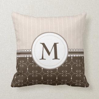 Chic Cream Beige Brown Custom Monogram Pattern Throw Pillow
