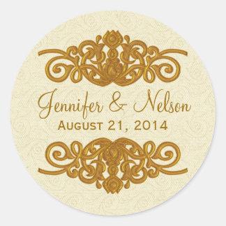 Chic Cream & Gold Tone Wedding Envelope Seal