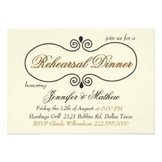 Chic Cream Wedding Rehearsal Dinner Custom Invitation