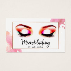 Chic Creative Watercolor Eyebrows Microblading Business Card at Zazzle