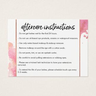 Chic Creative Watercolor Lash Salon II Aftercare Business Card