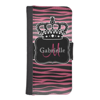 Chic crown with pink and black zebra print iPhone SE/5/5s wallet case