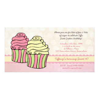 Chic Cupcakes Sweet 16 Birthday Party Invite