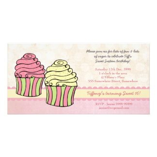 Chic Cupcakes Sweet 16 Birthday Party Invite Photo Card