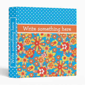 Chic Custom Binder: Ditsy Orange Floral Pattern Binder