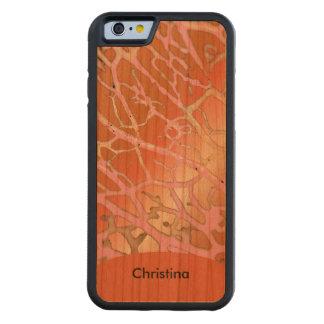 Chic Custom Handmade Warm Tangerine Pink Patterns Carved® Cherry iPhone 6 Bumper Case