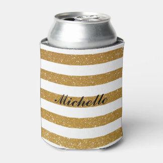 Chic custom name gold glitter striped can coolers