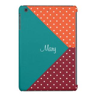 Chic Custom Name Teal, Red, Tangerine Polka Dots iPad Mini Retina Case