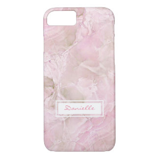 Chic Custom Pastel Pink Agate Marble Pattern iPhone 8/7 Case