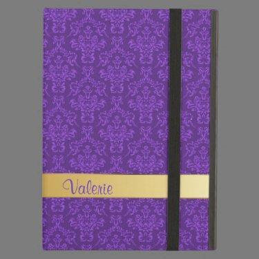 Chic Custom Purple Damask iPad Air Case