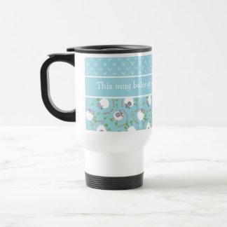 Chic Custom Travel Mug: Blue, Fun Sheep Patterns Travel Mug