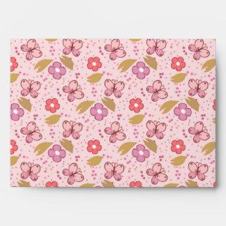 Chic Cute Pink Butterflies Floral Envelopes