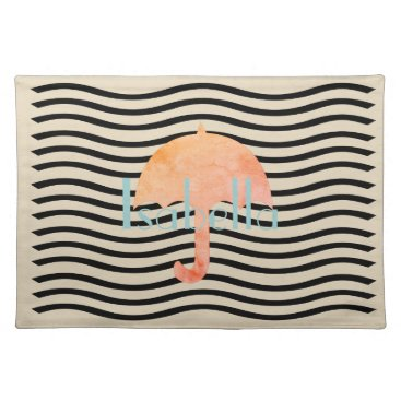 Beach Themed Chic Cute Umbrella Add Name Placemat