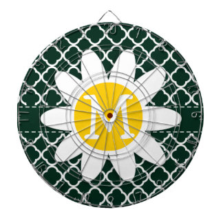 Chic Daisy on Elegant Dark Green Quatrefoil Dartboard