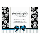 Chic Damask and Striped Business Card