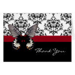Chic Damask & Butterfly Thank You Card