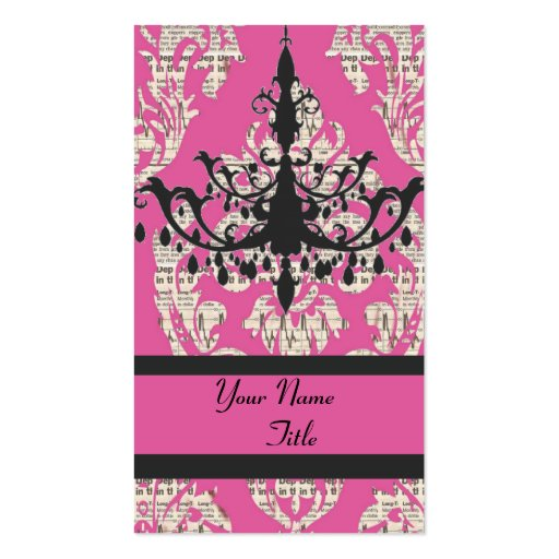 Chic Damask chandelier fashion  Business Card