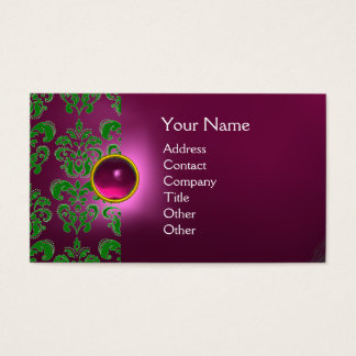 CHIC DAMASK GEM  MONOGRAM pink geen Business Card