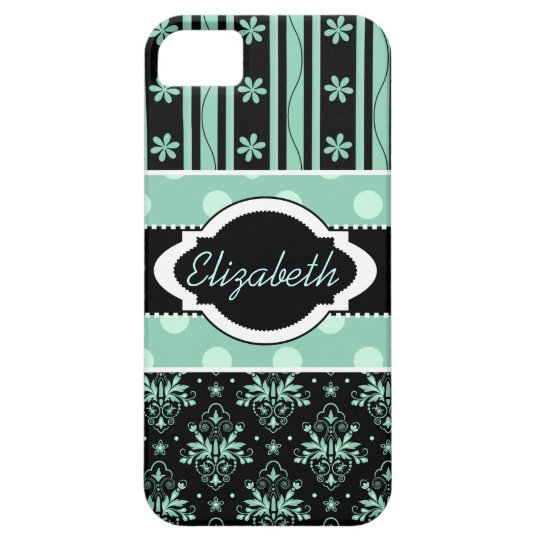 Chic Damask Green and Black iPhone 5 Case