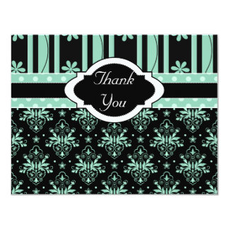 Chic Damask Green and Black Thank You Card