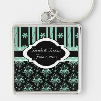 Chic Damask Green and Black Wedding Keychain