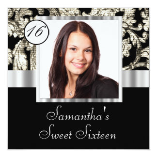 Chic damask instagram  sweet sixteen card