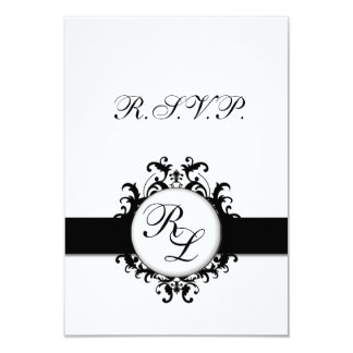 Chic Damask Monogram RSVP Card Wedding