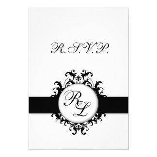 Chic Damask Monogram RSVP Card Wedding Custom Invites