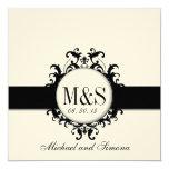 Chic Damask Monograms Wedding Black Cream 5.25x5.25 Square Paper Invitation Card