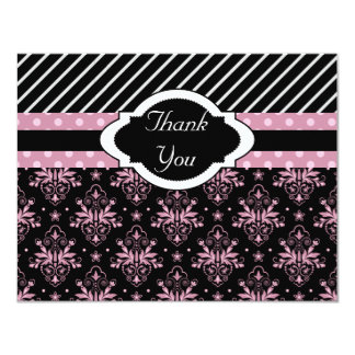 Chic Damask Pink and Black Thank You Card