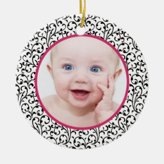 Chic Damask Pink Baby's First Christmas Ceramic Ornament