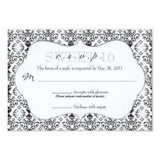 Chic Damask RSVP [Black and White] Card