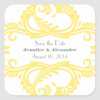 Chic Damask Save the Date Stickers, Yellow Square Sticker