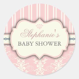 Chic Damask Stripe Baby Shower Favor Sticker