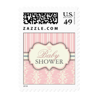 Chic Damask & Stripe Baby Shower Favor Sticker Stamp