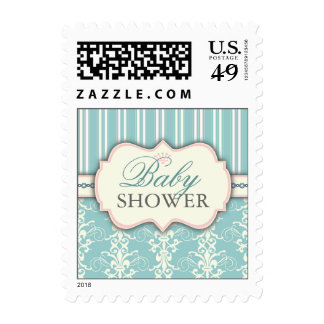 Chic Damask & Stripe Baby Shower Postage | Teal