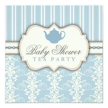 Toddler & Baby themed Chic Damask & Stripe Baby Shower Tea Invitation