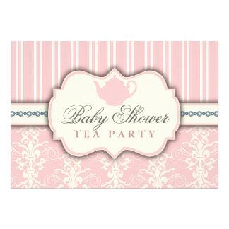 Chic Damask Stripe Baby Shower Tea Invitation