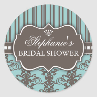 Chic Damask & Stripe Bridal Shower Favor Sticker