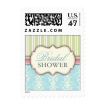 Chic Damask & Stripe Bridal Shower Postage