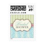 Chic Damask & Stripe Bridal Shower Postage