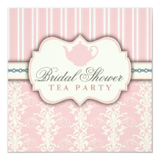 Chic Damask & Stripe Bridal Shower Tea Invitation at Zazzle