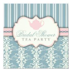 Chic Damask & Stripe Bridal Shower Tea Invitation at Zazzle