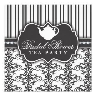 Chic Damask & Stripe Bridal Shower Tea Invitation